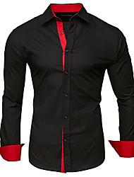cheap -Men's Plus Size Solid Colored Patchwork Shirt - Cotton Classic Collar White / Black / Royal Blue / Dark Gray / Navy Blue