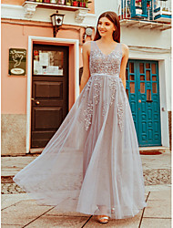 cheap -A-Line Scoop Neck Floor Length Tulle Bridesmaid Dress with Appliques