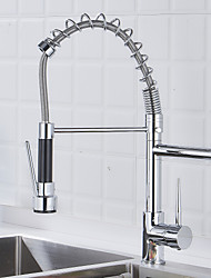 cheap -Kitchen faucet - One Hole Chrome Pull-out / ­Pull-down Deck Mounted Contemporary / Brass / Single Handle One Hole