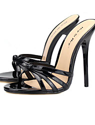 cheap -Women's Sandals Stiletto Heel Open Toe PU(Polyurethane) Classic Summer Almond / Red / Black / Party & Evening / Party & Evening