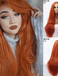 cheap -Synthetic Lace Front Wig Straight Straight Silky Straight Lace Front Wig Long Auburn Synthetic Hair 18-26 inch Women's Natural Hairline Middle Part Red