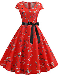 cheap -Women's / Ladies Date Street Trendy Swing Dress - Printing 3D Digital Print Printing Red S M L XL