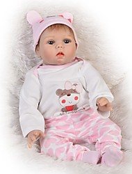 cheap -FeelWind 22 inch Reborn Doll Baby Girl Reborn Baby Doll Gift Kids / Teen Lovely Full Body Silicone with Clothes and Accessories for Girls' Birthday and Festival Gifts