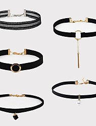 cheap -Women's Choker Necklace Braided Vintage Fashion PU Leather Fabric Chrome Black 40 cm Necklace Jewelry 5pcs For Daily Street