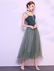 cheap -A-Line Spaghetti Strap Ankle Length Tulle Bridesmaid Dress with