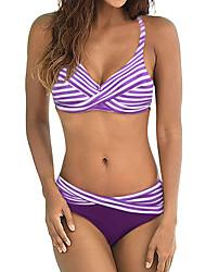 abordables -Femme Sportif Basique Orange Violet Bleu Ciel Triangle Slip Brésilien Bikinis Maillots de Bain - Rayé Bloc de Couleur Arc-en-ciel Dos Nu Imprimé XL XXL XXXL Orange
