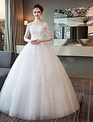cheap -Ball Gown Jewel Neck Maxi Tulle / Lace Over Satin Half Sleeve Made-To-Measure Wedding Dresses with Appliques 2020 / Bell Sleeve