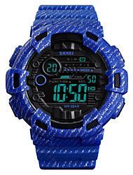 cheap -SKMEI Men's Military Watch Digital Outdoor Military Silicone Blue / Green / Grey Digital - Dark Green Blue Khaki One Year Battery Life / Alarm / Chronograph / Dual Time Zones / Stopwatch