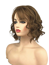 cheap -Synthetic Wig Curly Side Part Wig Medium Length Medium Golden Brown Synthetic Hair 10 inch Women's Classic Synthetic Brown