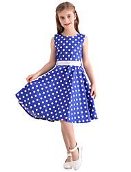 cheap -Kids Girls' Vintage Cute Polka Dot Print Sleeveless Knee-length Dress Blue / Cotton