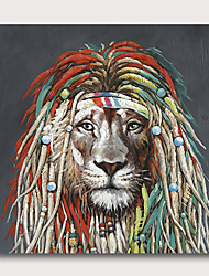 cheap -Hand painted Stretched Oil Painting Canvas Ready To Hang Abstract Style Animals Pop Art Lion With Stretched Frame