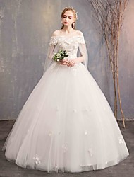cheap -Ball Gown Off Shoulder Maxi Tulle / Lace Over Satin Short Sleeve Made-To-Measure Wedding Dresses with Appliques / Lace 2020