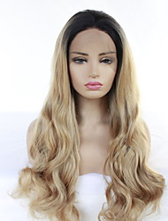 cheap -Synthetic Wig / Synthetic Lace Front Wig Matte / Body Wave Jenner Style Free Part Lace Front Wig Strawberry Blonde Synthetic Hair 24inch Women's Classic / Synthetic / Fashion Dark Brown Gold Blonde