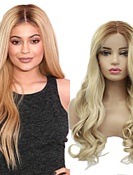cheap -Synthetic Lace Front Wig Wavy Jenner Middle Part Lace Front Wig Blonde Ombre Long Blonde Synthetic Hair 24 inch Women's Synthetic Easy dressing New Arrival Blonde Ombre