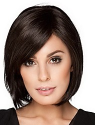 cheap -Synthetic Wig Bangs kinky Straight Bob Side Part Wig Medium Length Black / Gold Synthetic Hair 14 inch Women's Smooth Classic Women Black