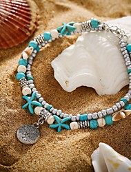 cheap -Ankle Bracelet Fashion Trendy Casual / Sporty Women's Body Jewelry For Street Daily Tropical Turquoise Stone Alloy Tree of Life Starfish Turquoise 1pc