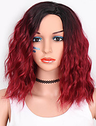 cheap -Cosplay Wig Loose Wave Water Wave Pixie Cut Short Bob Wig Burgundy Short Dark Wine Synthetic Hair 12 inch Women's Party Synthetic Easy dressing Burgundy