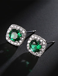 cheap -Women's Green AAA Cubic Zirconia Stud Earrings Stylish Unique Design bridesmaid Earrings Jewelry Silver For Wedding Engagement Gift New Year 1 Pair