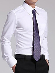 cheap -Men's Shirt Solid Colored Long Sleeve Tops White