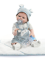 cheap -NPKCOLLECTION 22 inch Reborn Doll Baby Reborn Baby Doll Cute Artificial Implantation Blue Eyes Full Body Silicone with Clothes and Accessories for Girls' Birthday and Festival Gifts
