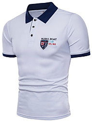 cheap -Men's Solid Colored Slim Polo Shirt Collar White / Blue / Yellow
