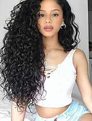 cheap -Synthetic Lace Front Wig Bouncy Curl Tight Curl Middle Part Wig Very Long Jet Black Synthetic Hair 26 inch Women's Synthetic Natural Hairline Side Part Black BLONDE UNICORN