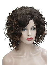 cheap -Synthetic Wig Curly Side Part Wig Medium Length Brown Synthetic Hair 14 inch Women's Synthetic Brown