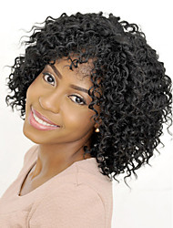 cheap -Synthetic Wig Curly Afro Curly With Bangs Wig Medium Length Natural Black Synthetic Hair 14 inch Women's Synthetic Comfortable African American Wig Black / Doll Wig / For Black Women