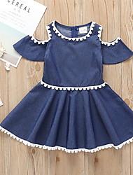 cheap -Kids Girls' Cute Solid Colored Short Sleeve Dress Blue
