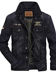 cheap -Men's Daily Basic Plus Size Regular Denim Jacket, Solid Colored Shirt Collar Long Sleeve Polyester Black / Light Blue / Blue