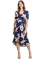 cheap -Women's Asymmetrical Maternity Blushing Pink Blue Dress Basic Swing Geometric Patchwork Print S M