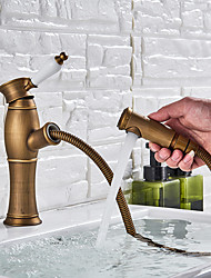 cheap -Bathroom Sink Faucet - Pullout Spray Antique Brass Deck Mounted Single Handle One HoleBath Taps