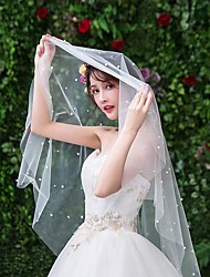 cheap -One-tier Lace Wedding Veil Fingertip Veils with Faux Pearl Lace / Tulle / Drop Veil