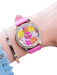 cheap -Women's Dress Watch Quartz Leather Black / White / Blue Chronograph Casual Watch Lovely Analog Flower Colorful - Red Blue Pink One Year Battery Life