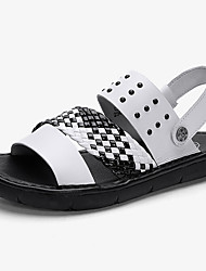 cheap -Men's Comfort Shoes Nappa Leather Spring & Summer Vintage / Casual Sandals Breathable Color Block Black / White
