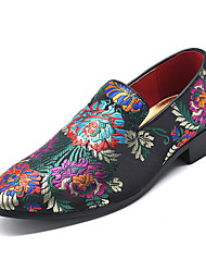 cheap -Men's Formal Shoes Driving Shoes Spring & Summer Vintage / Chinoiserie Party & Evening Office & Career Loafers & Slip-Ons Satin Non-slipping Wear Proof Black / Red / Blue