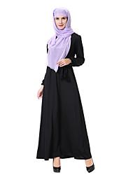 cheap -Women's Swing Abaya Jalabiya Dress - Solid Colored Black M L XL