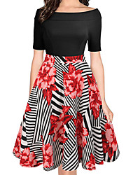 cheap -Audrey Hepburn Country Girl Retro Vintage 1950s Wasp-Waisted Rockabilly Dress Women's Costume Black / Black / Red / Red Vintage Cosplay Cotton Party Daily Homecoming Short Sleeve Knee Length