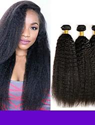 cheap -6 Bundles Indian Hair kinky Straight Remy Human Hair Natural Color Hair Weaves / Hair Bulk Bundle Hair One Pack Solution 8-28inch Natural Color Human Hair Weaves Waterfall Cute Safety Human Hair