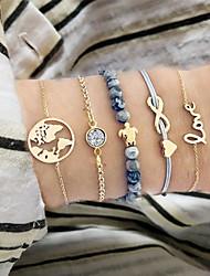 cheap -5pcs Women's Bead Bracelet Vintage Bracelet Earrings / Bracelet Layered Maps Alphabet Shape Heart Simple Classic Vintage Fashion Cord Bracelet Jewelry Gold For Daily School Street Holiday Festival
