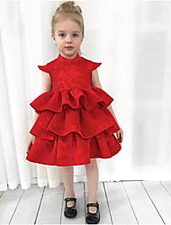 cheap -Baby Girls' Active / Basic Print Print Sleeveless Knee-length Cotton Dress Red / Toddler