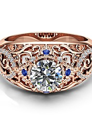 cheap -Women's Band Ring Ring Cubic Zirconia 1pc Rose Gold Copper Rose Gold Plated Geometric Luxury Unique Design European Party Gift Jewelry Hollow Out Flower Cool