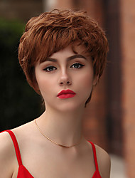 cheap -Human Hair Capless Wigs Human Hair Curly / Tight Curl Pixie Cut / Layered Haircut / Asymmetrical / Short Hairstyles 2019 Heat Resistant / Best Quality / Hot Sale Brown Short Capless Wig Women's