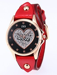 cheap -Women's Quartz Watches Heart shape Black Blue Red PU Leather Chinese Quartz Black Peach Blue Water Resistant / Waterproof 30 m 1 pc Analog Two Years Battery Life