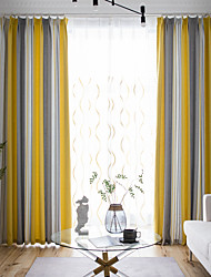cheap -Two Panel American Style Vertical Stripes Brushed Jacquard Curtains Living Room Bedroom Dining Room Study Curtains
