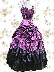 abordables -Rétro Vintage Princesse Elégant Costume de Cosplay Robe sans Manches Femme Japonais Costumes de Cosplay Gris / Violet / Vert foncé Mosaïque Sans Manches Maxi Long