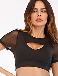cheap -Women's Crop Top Cut Out Patchwork Solid Color White Black Mesh Running Fitness Gym Workout Top Short Sleeve Sport Activewear Breathable Quick Dry Comfortable High Elasticity