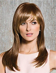 cheap -Synthetic Wig Natural Straight With Bangs Wig Medium Length Brown Synthetic Hair 24 inch Women's Synthetic Hot Sale Natural Hairline Brown BLONDE UNICORN