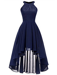cheap -A-Line Minimalist Blue Holiday Cocktail Party Dress Halter Neck Sleeveless Asymmetrical Chiffon Lace with Pleats 2020