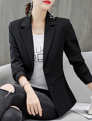 cheap -Women's Blazer, Solid Colored Notch Lapel Polyester / Spandex White / Black
